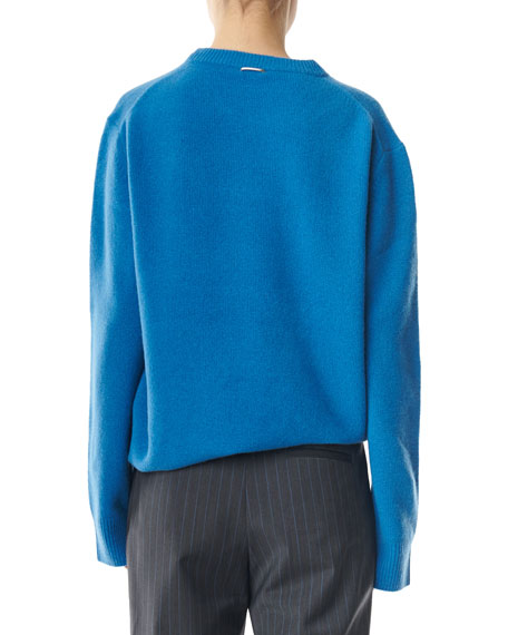 Airy Alpaca Crewneck Pullover with Arm Band Cuffs