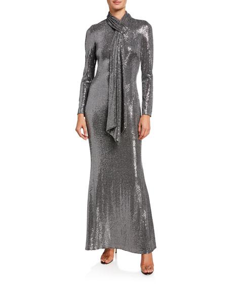 Sequin Tie-Neck Long-Sleeve Gown