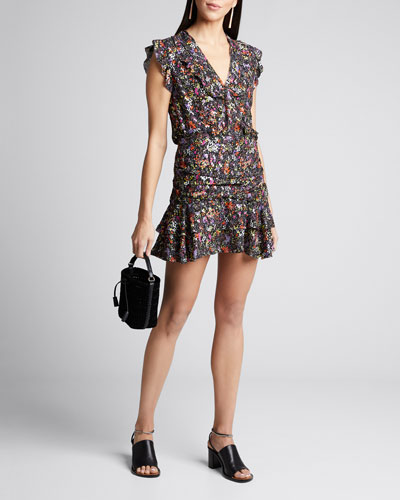 Ruched Floral Flounce Mini Skirt