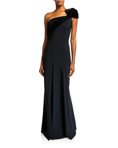 One-Shoulder Long Gown w/ Velvet Detail