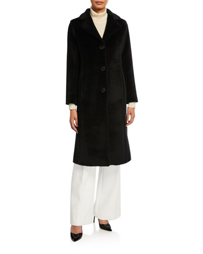 Long 3-Button Alpaca Coat