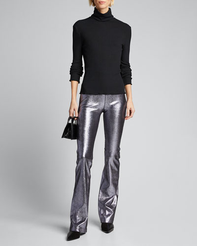 Micro Flare Leather Leggings