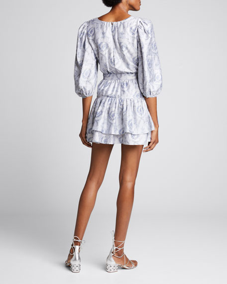 Pearla Belted Blouson-Sleeve Tiered Dress