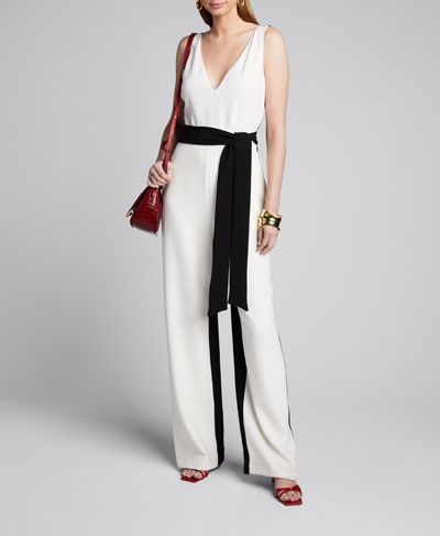 Jetta Two-Tone Belted Jumpsuit