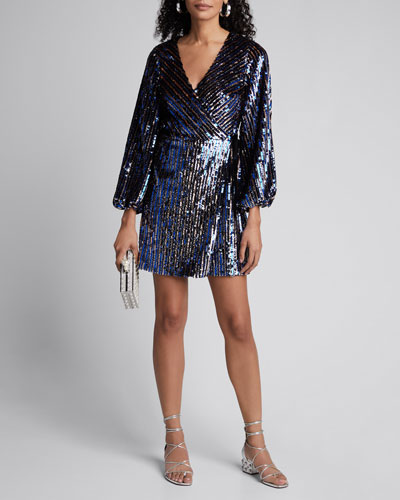 Tabitha Sequined Long-Sleeve Wrap Dress