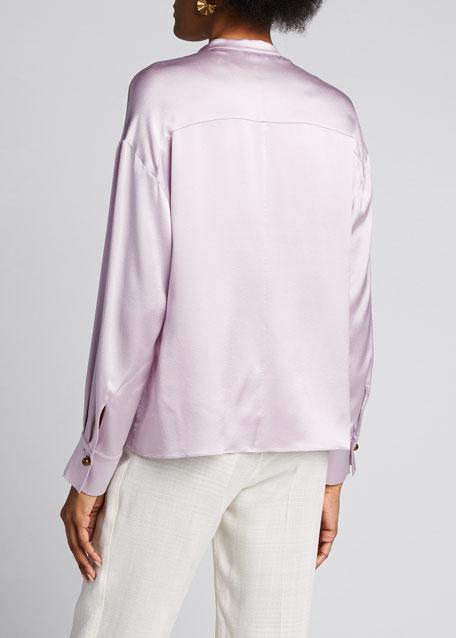 Long-Sleeve Silk Wrap Blouse