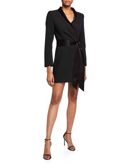 Image 1 of 1: Mona Strong-Shoulder Tie-Front Suit Dress