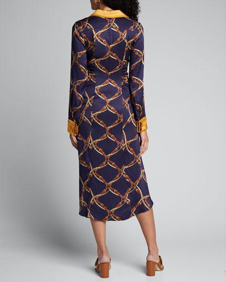Saddle-Print Ruched Long-Sleeve Shirtdress