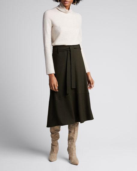 Belted Seamed Midi Skirt
