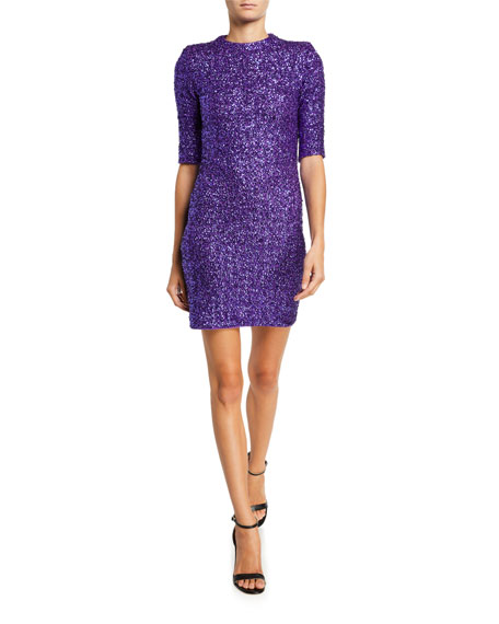 Inka Sequin Mock-Neck Mini Dress