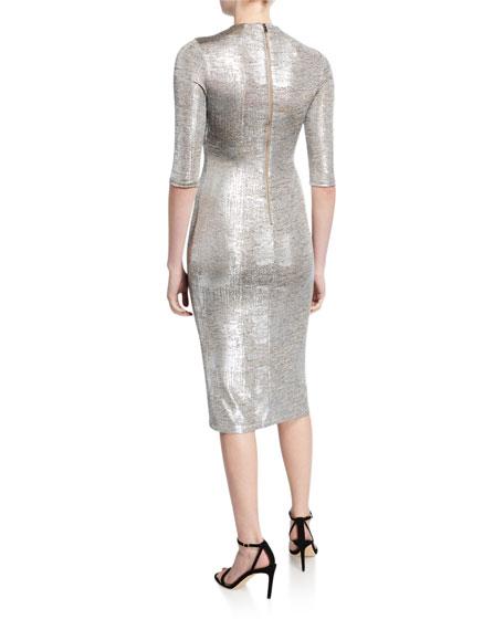 Delora Metallic Fitted Mock-Neck Dress