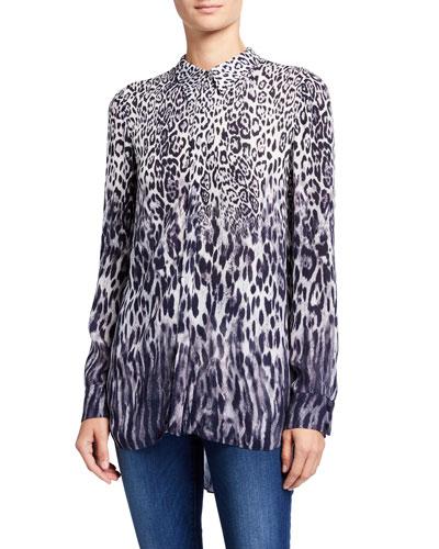 Ingunn Animal-Print Button-Down Shirt