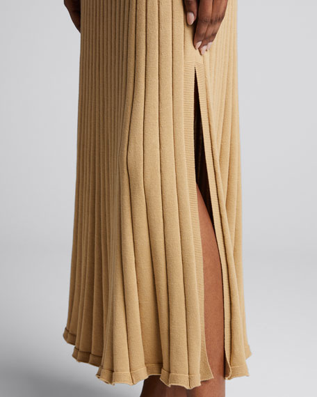 Lulu Ribbed Long Skirt with Side Slit