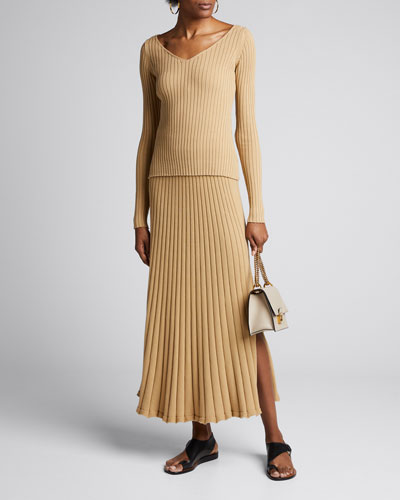 Lulu Ribbed Long Skirt with Side Slit