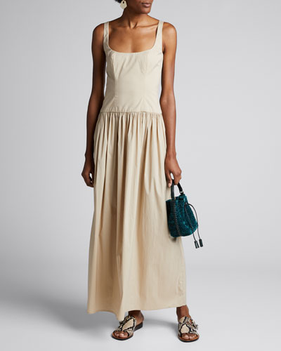 Gisele Square-Neck Stretch Cotton Long Dress