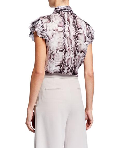Bree Snake-Print Tie-Neck Flutter-Sleeve Silk Shirt