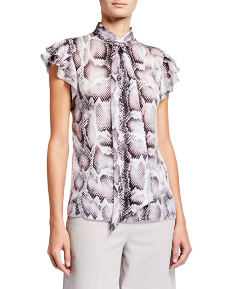 Image 1 of 1: Bree Snake-Print Tie-Neck Flutter-Sleeve Silk Shirt