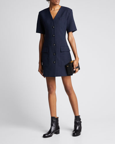 Portia Pinstripe Short-Sleeve Button-Front Dress