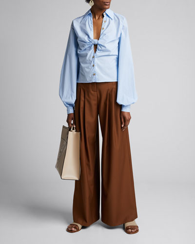 Spencer Knotted Blouson-Sleeve Cotton Blouse