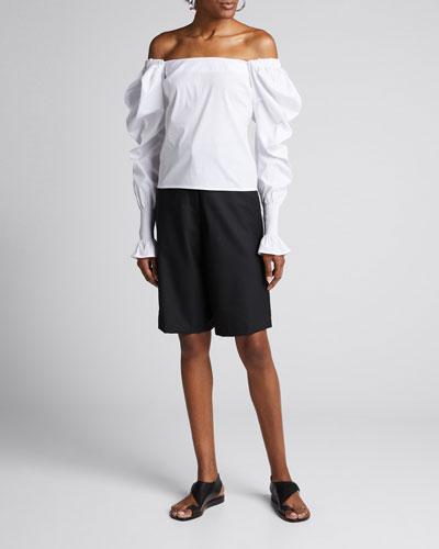 Rae High-Waist Wool Shorts