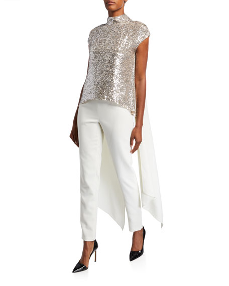 Eliza Sequin Mock-Neck Cap-Sleeve Blouse with Tails