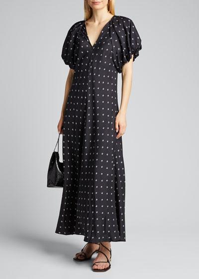 Roxie Puff-Sleeve Bias Dress