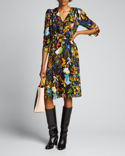 Kailyn Floral V-Neck 3/4-Sleeve Dress