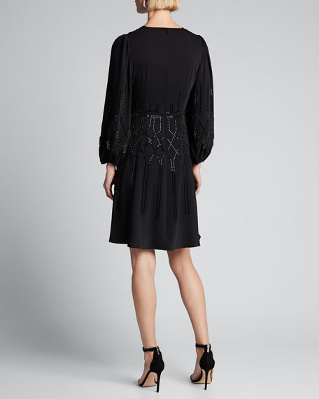 Cassie Bead Embellished Long-Sleeve A-Line Dress