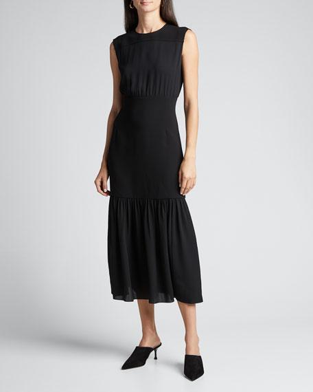 Silk Blouson Sleeveless Long Dress