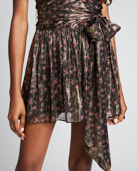 Mercy Floral Print Metallic-Silk Puff-Sleeve Dress