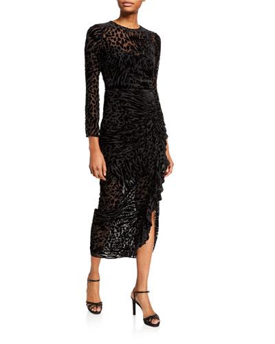 Lala Velvet Burnout Ruffle Midi Dress