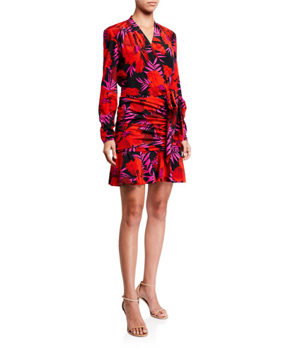 Lorina Floral-Print Tie-Front Dress
