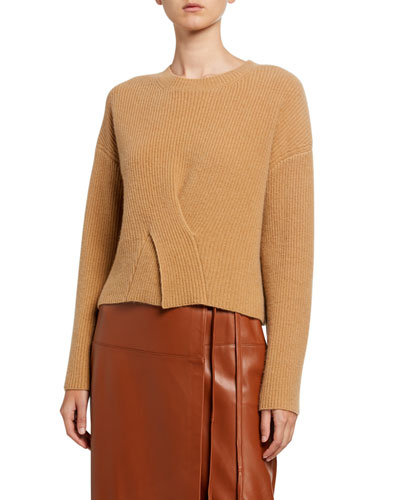 Cashmere Long-Sleeve Crewneck Twisted Front Sweater