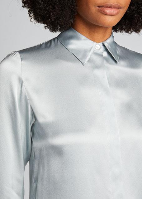 Classic Straight Washed Silk Shirt