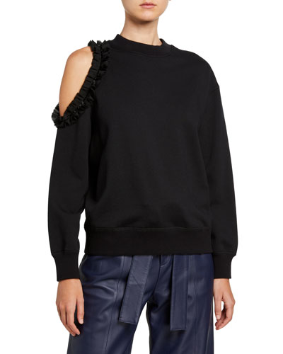 Crewneck Long-Sleeve Cold-Shoulder Sweatshirt