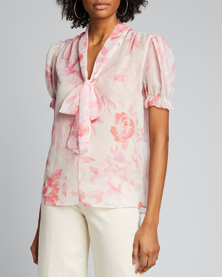 Floral Printed Tie-Neck Short-Sleeve Top w/ Cami