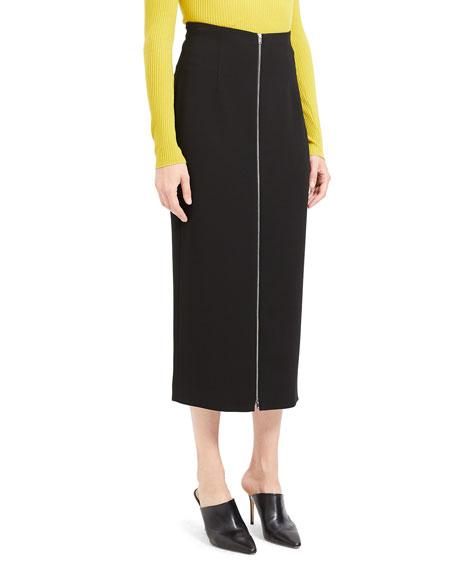 High-Waist Zip-Front Crepe Midi Skirt
