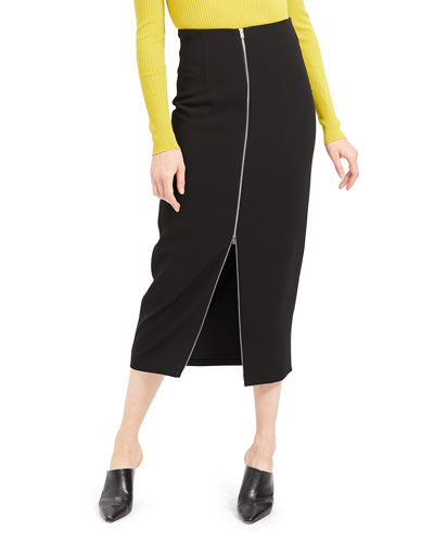 High-Waist Zip-Front Crepe Midi Skirt