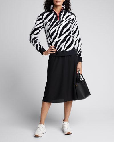 Zebra-Print Half-Zip Pullover