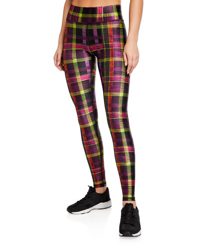 Tall Band Metallic Plaid-Print Leggings