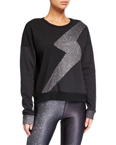 Ribbed Lightning Bolt Crewneck Sweatshirt