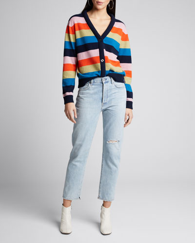 The Remus Striped Button-Front Cashmere Sweater