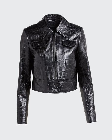 Jagger Cropped Zip Front Faux-Leather Jacket