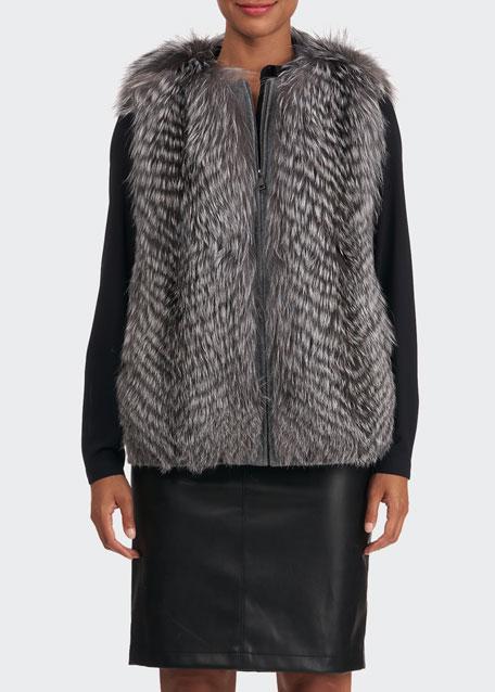Fox Fur Wool Back Vest
