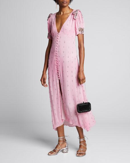 Delaney Embellished Button-Front Long Dress