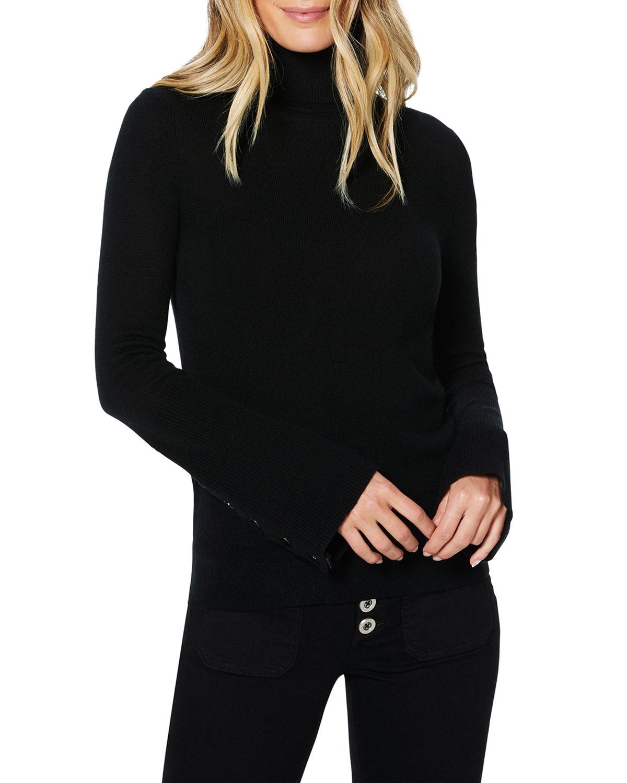 Ramy Brook Womens Kathy Button Sleeve Turtleneck Sweater