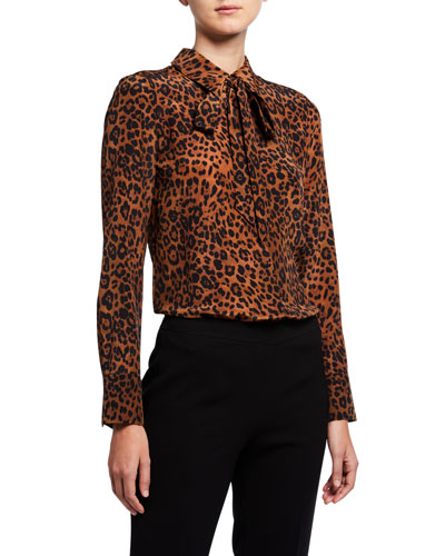 Diana Leopard Printed Silk Tie-Neck Blouse