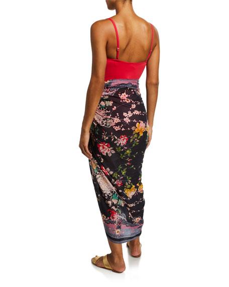 Mono Floral-Print Sarong Coverup