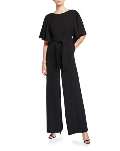 Annette Finesse Crepe Wide-Leg Jumpsuit