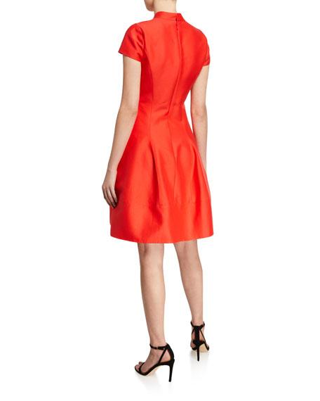 V-Neck Cap-Sleeve Silk Faille Dress w/ Mandarin Collar